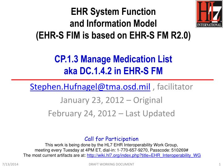 EHR System Function