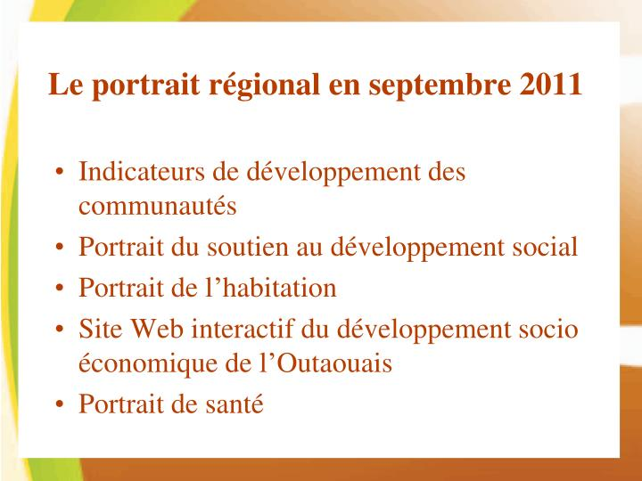 Le portrait régional en septembre