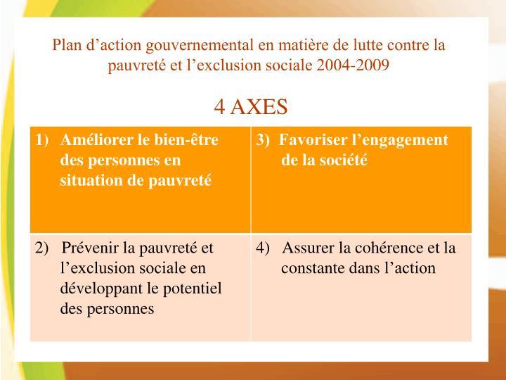 Plan d'action gouvernemental en matière de lutte contre la pauvreté et l'exclusion sociale 2004-2009