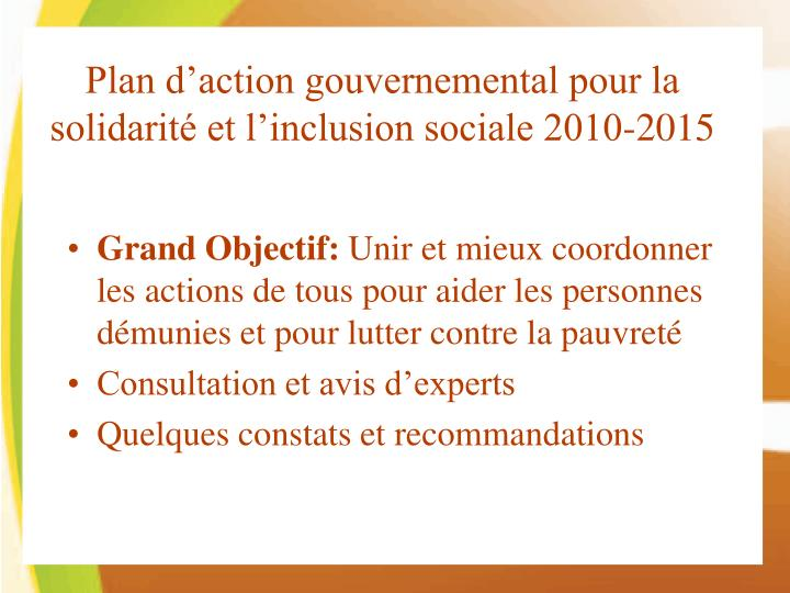 Plan d'action gouvernemental pour la solidarité et l'inclusion sociale 2010-2015