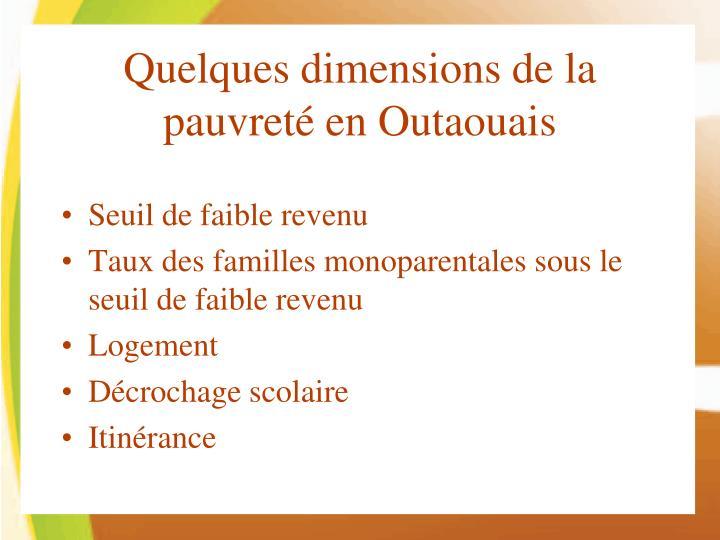 Quelques dimensions de la pauvreté en Outaouais