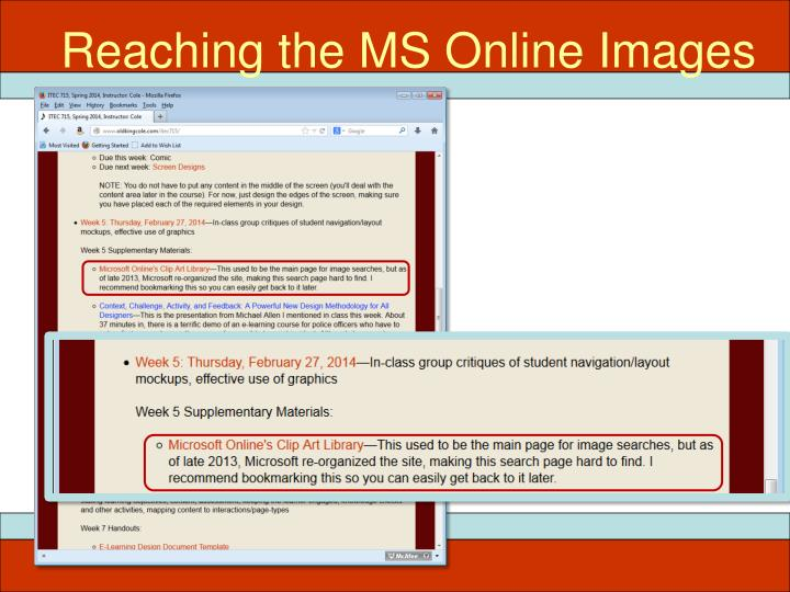 Reaching the MS Online Images
