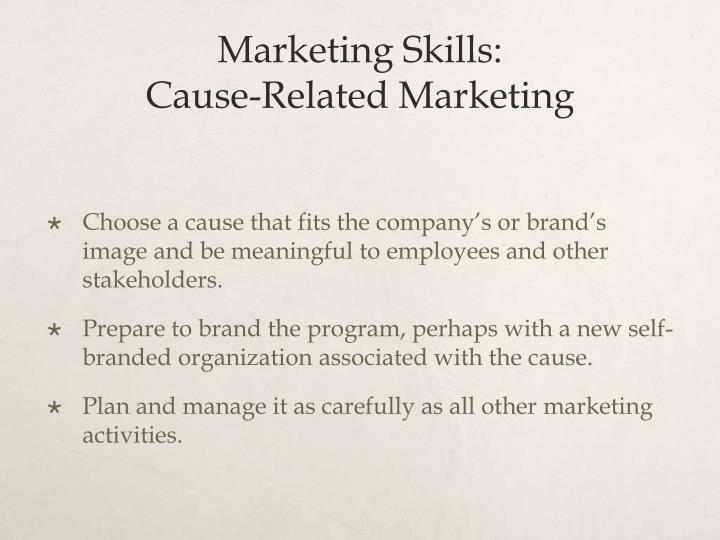 Marketing Skills: