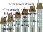 b the growth of towns