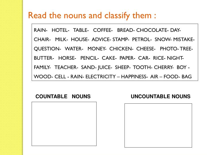 Read the nouns and classify them :