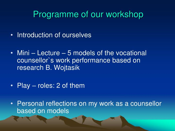 Programme of our workshop
