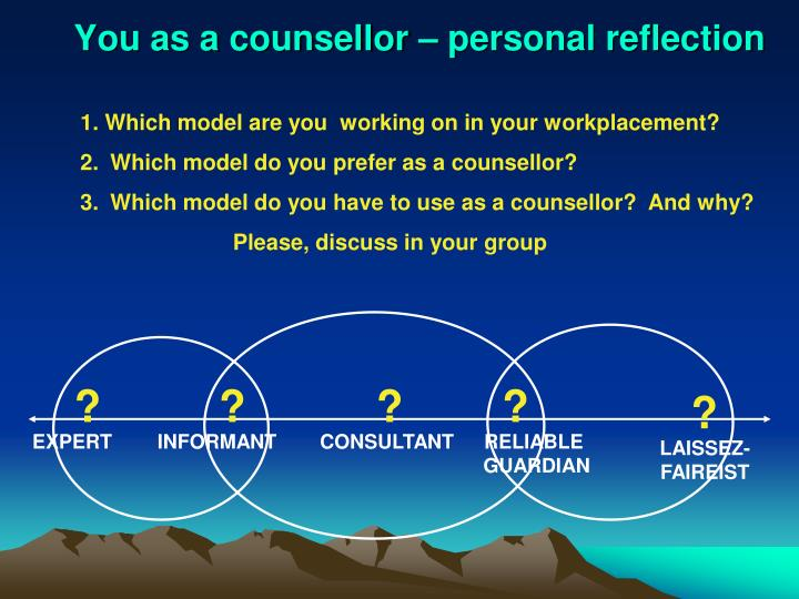 You as a counsellor – personal reflection