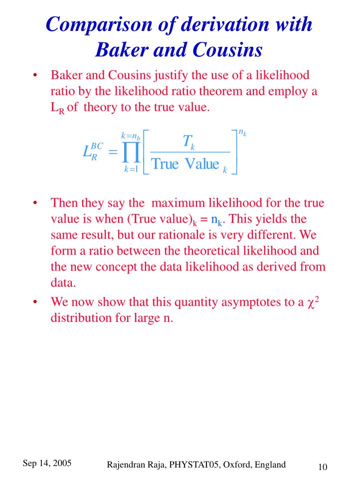 Comparison of derivation with Baker and Cousins