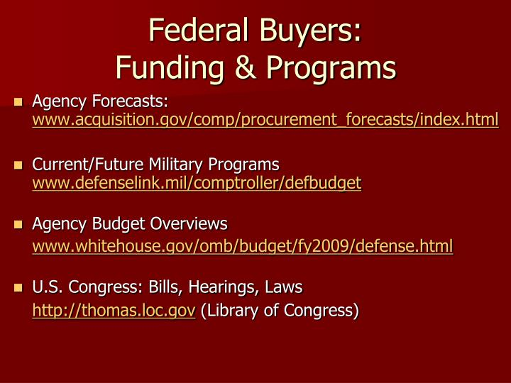 Federal Buyers: