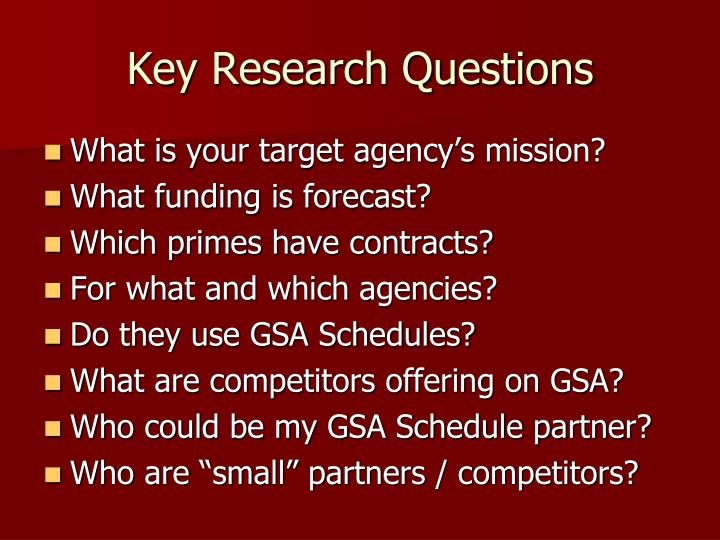 Key Research Questions