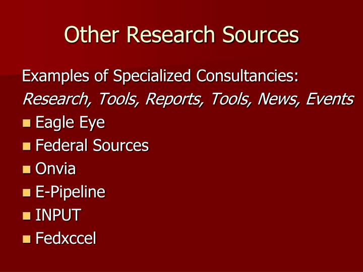 Other Research Sources