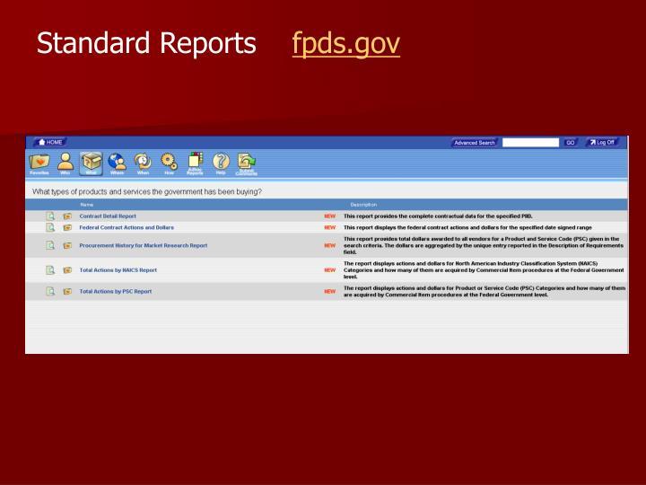 Standard Reports