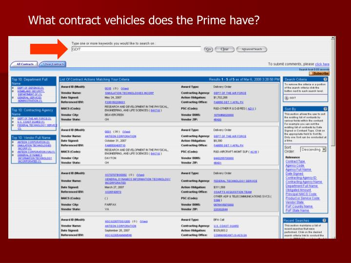 What contract vehicles does the Prime have?
