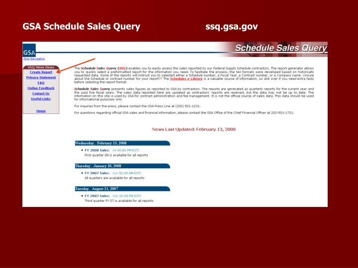 GSA Schedule Sales Query                         ssq.gsa.gov