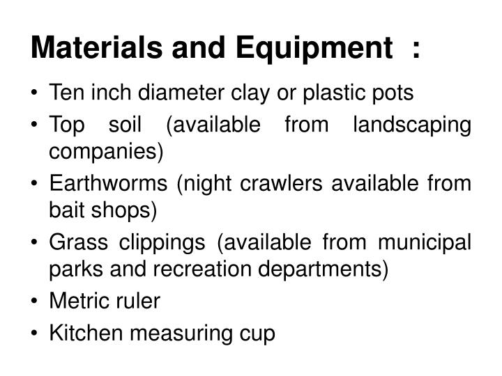 Materials and Equipment  :