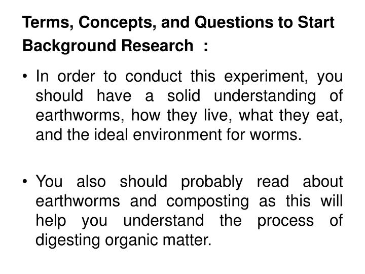 Terms, Concepts, and Questions to Start Background Research  :