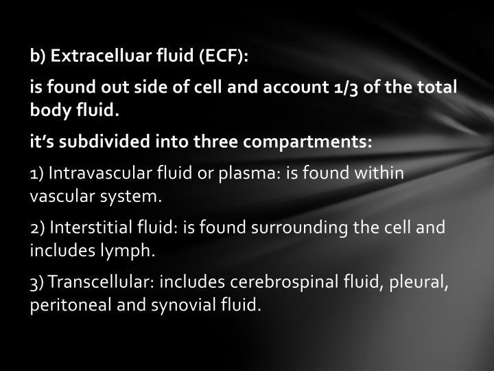 b) Extracelluar fluid (ECF):