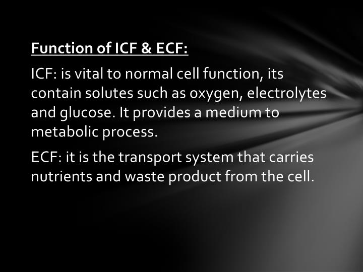 Function of ICF & ECF: