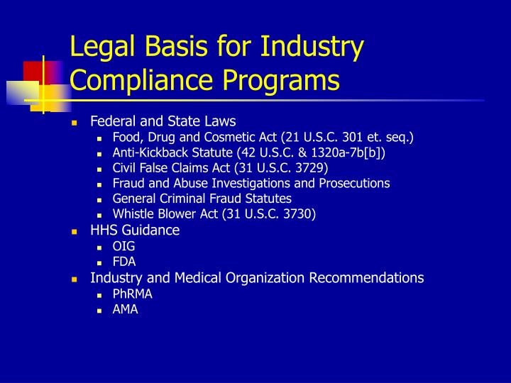 Legal Basis for Industry Compliance Programs