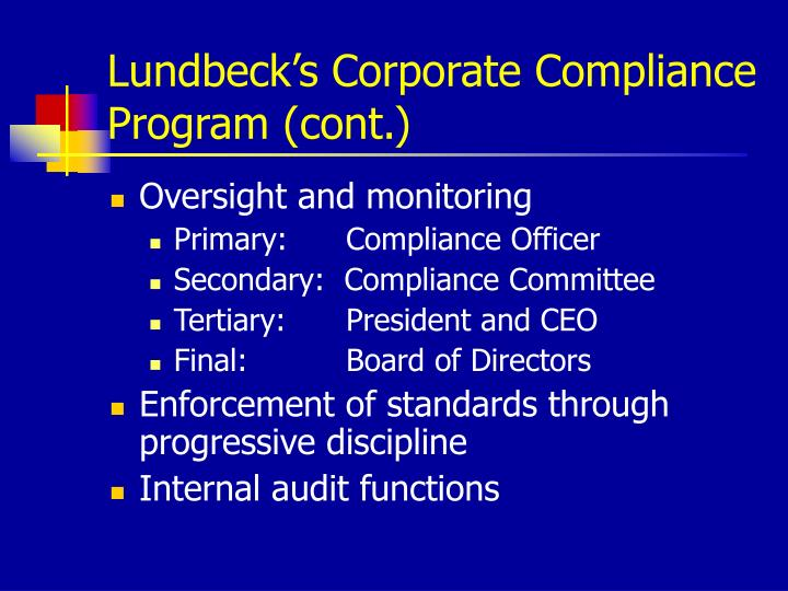 Lundbeck's Corporate Compliance Program (cont.)