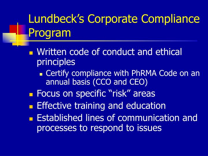 Lundbeck's Corporate Compliance Program