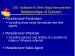 oig kickbacks other illegal remuneration relationships of concern
