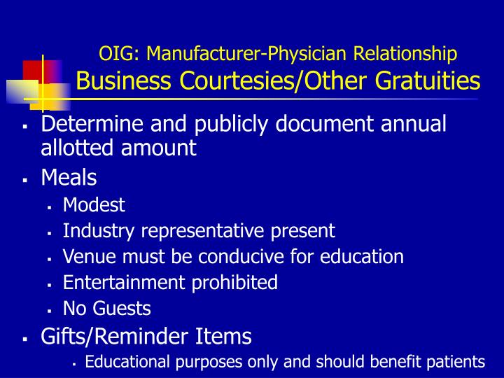 OIG: Manufacturer-Physician Relationship