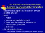 oig manufacturer physician relationship business courtesies other gratuities