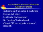 oig manufacturer physician relationship research funding