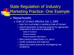 state regulation of industry marketing practice one example