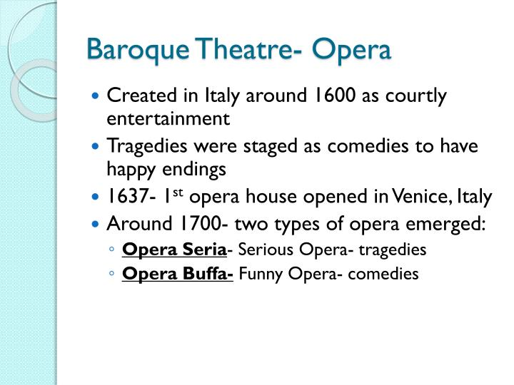Baroque theatre opera