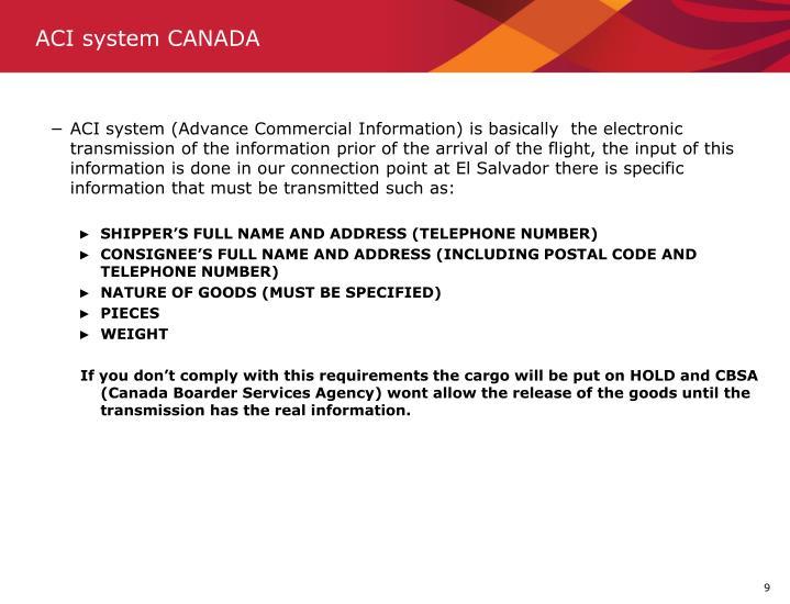 ACI system CANADA