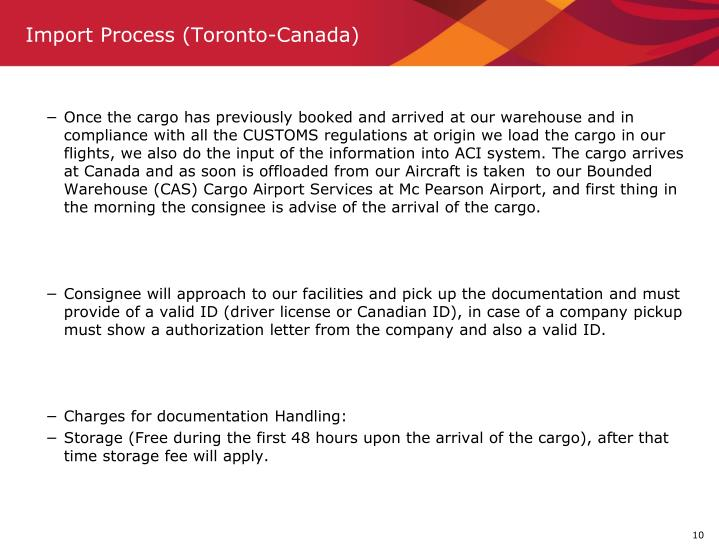 Import Process (Toronto-Canada)