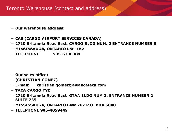 Toronto Warehouse (contact and address)