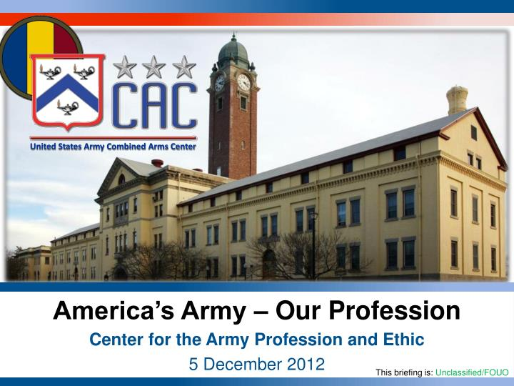 the army as a profession of arms essay Cape provides senior leaders with the educational resources, narrative, and ideas to reinvigorate the army profession across all army cohorts.