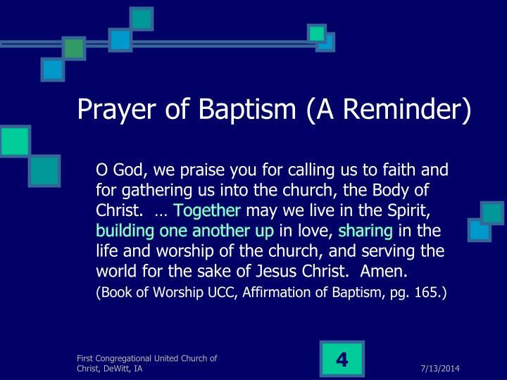 Prayer of Baptism (A Reminder)