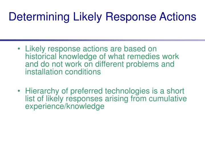Determining Likely Response Actions