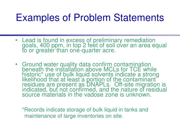 Examples of Problem Statements