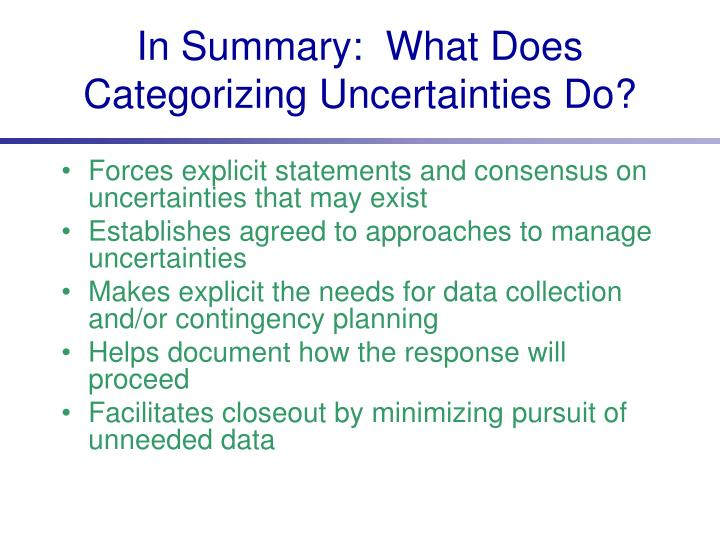 In Summary:  What Does Categorizing Uncertainties Do?