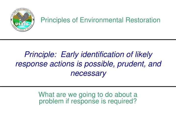 Principles of Environmental Restoration