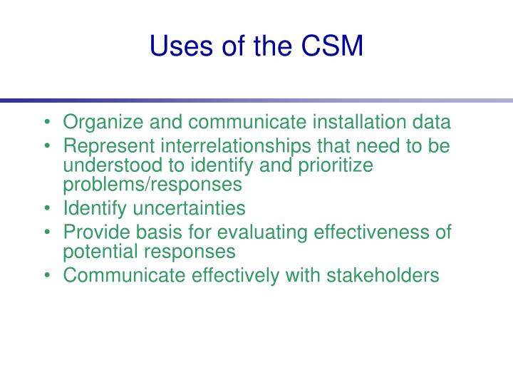 Uses of the CSM