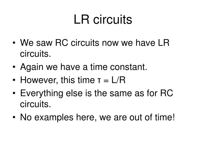 LR circuits