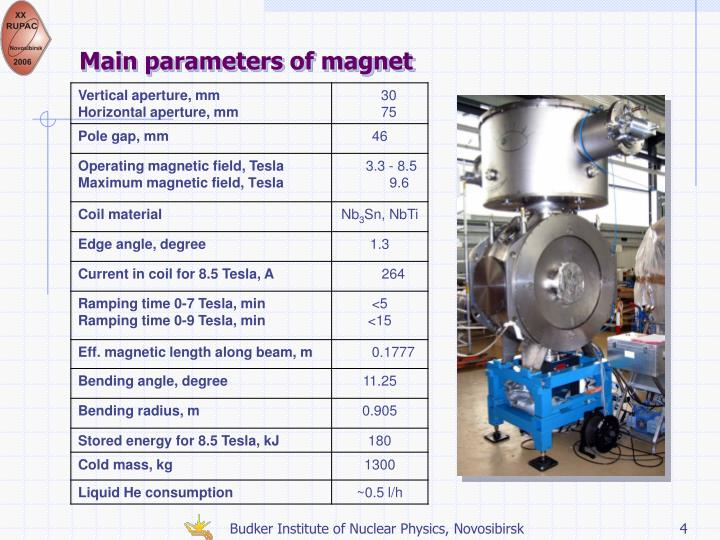 Main parameters of magnet