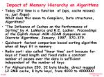 impact of memory hierarchy on algorithms