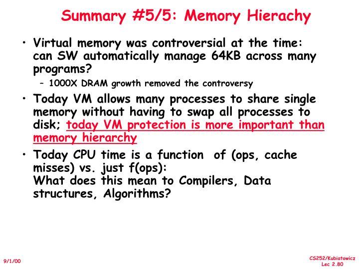 Summary #5/5: Memory Hierachy