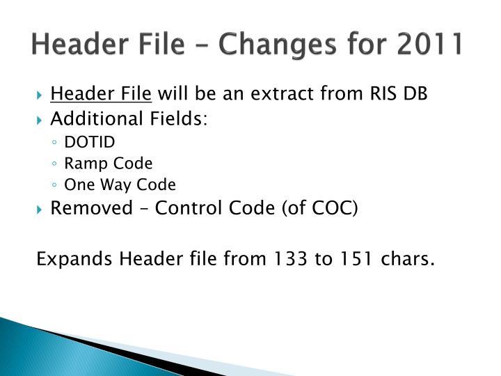 Header File – Changes for 2011