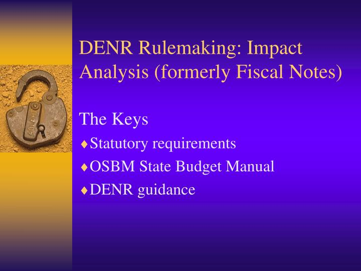 Denr rulemaking impact analysis formerly fiscal notes