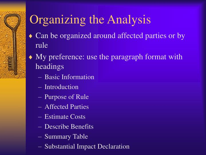 Organizing the Analysis