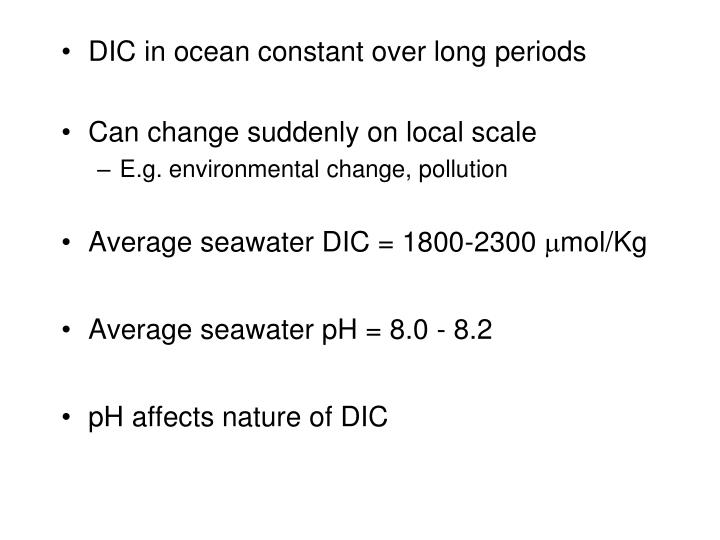 DIC in ocean constant over long periods