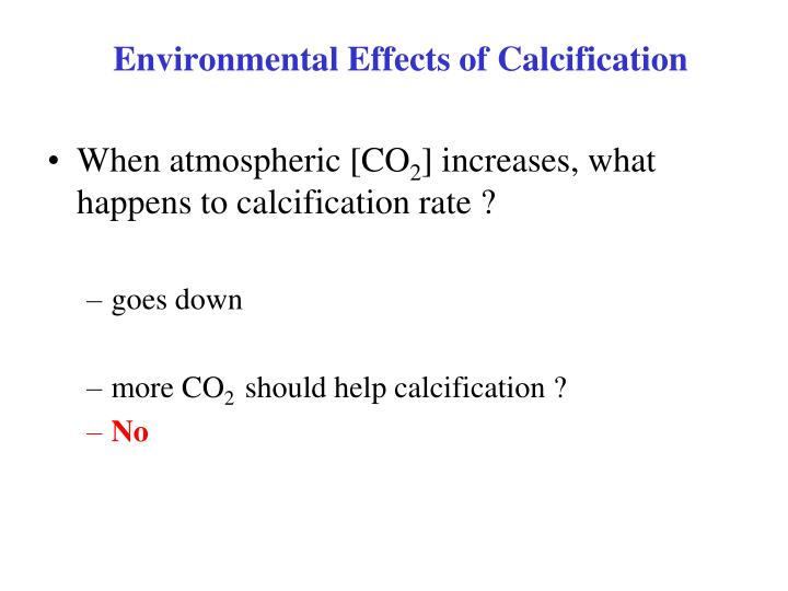 Environmental Effects of Calcification